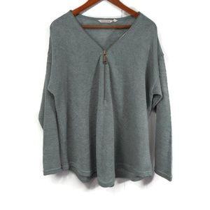 Soft Surroundings Womens 1X Green Sweater Zipper